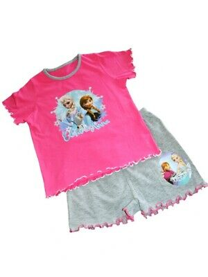 Ex-Disney FROZEN Pink/Grey Soft Touch SHORT Pyjama Set Age  3-4 5-6 7-8 9-10 yrs
