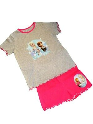 Ex-Disney FROZEN Grey/Pink Soft Touch SHORT Pyjama Set Age  3-4 5-6 7-8 9-10 yrs