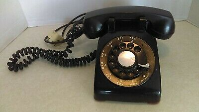 Vintage 1955 Western Electric Black Rotary Dial Desk Top Telephone Model CD 500
