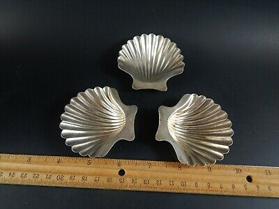 Set 3 Black Starr Frost Gorham Sterling Silver Scalloped Clam Shell Dishes 1748S