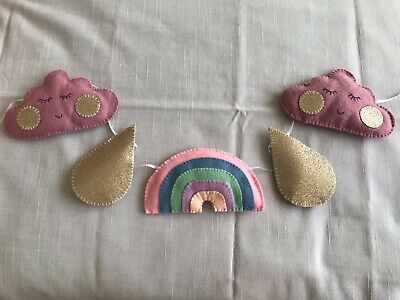 Handmade felt baby/child's rainbow cloud nursery bunting/garland/decoration