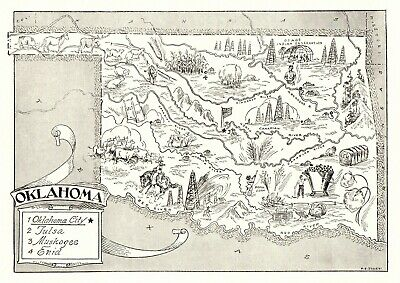 1950s Antique OKLAHOMA State Map Animated Map of Oklahoma Picture Map BW 6831