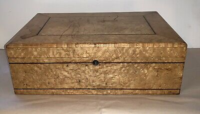 ANTIQUE Burled Curly Maple  Red Silk Lined BOX WOODEN DOCUMENT