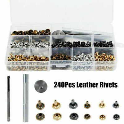 240pcs Leather Double Cap Rivets Tubular Metal Studs Fixing Tool Kit Craft New