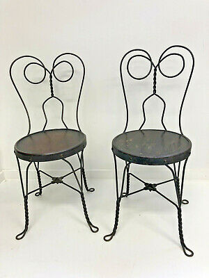 Vintage ICE CREAM PARLOR CHAIR PAIR Heart Back bistro side antique twisted wire