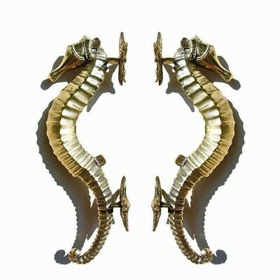 """2 small SEAHORSE STAR 26cm brass door polished old style PULL grab handle 10"""" B"""