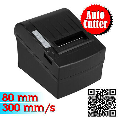 Excelvan Black 300mm/sec 80mm Thermal Dot Receipt Printer with AUTO-CUT Function