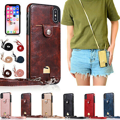 For iPhone XS Max XR X 8 7 6Plus Soft Phone Purse Case Carrying Shoulder Strap