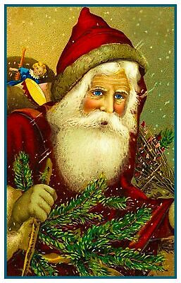 Victorian Father Christmas Santa Claus #23 Counted Cross Stitch Chart Pattern