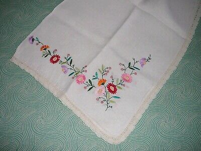 Vintage Embroidered Crocheted Tablecloth Table Topper Floral Flower