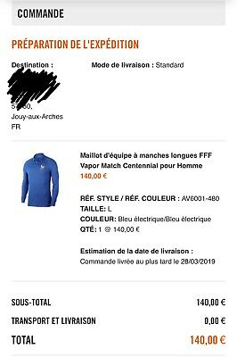 sale retailer new york top design MAILLOT EDF FFF France Centenaire Centennial Vapor Match ...