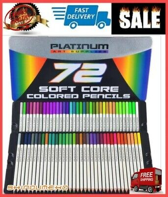 72 Prismacolor Premier Colored Pencils Platinum Soft,Core Artist Paint Tin Case