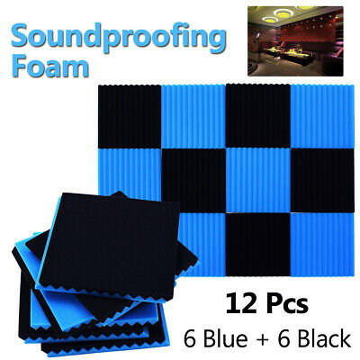 6Blue+6Black Acoustic Wall Panel Studui Soundproofing Wedge Foam Tile Home Decor