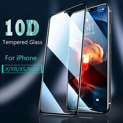 10D Curved FULL Screen Protector Tempered Glass For iPhone X XS Max XR 7 8 AU RR