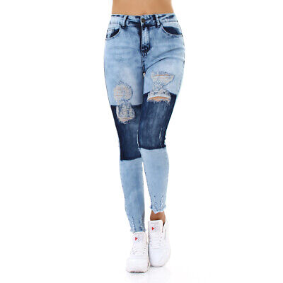 Jeans High Waist Damen Skinny Jeans Jeanshose Used Look