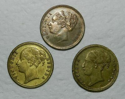 Queen Victoria - 3 X Brass Tokens 1838, 1857 & One With T T Stamped