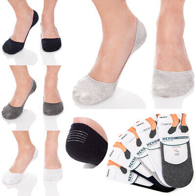 Mens Cotton MULTIPACK Socks Invisible Shoe Liner No-Slip Silicon Insets  FS3201