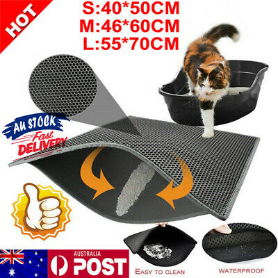 Pet Double Layer Kitty Cat Litter Mat Trapper Waterproof Foldable Pad Honeycomb