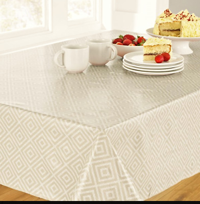 GEO NATURAL BEIGE WIPE CLEAN PVC RECTANGLE OBLONG TABLE CLOTH 52x70 INCHES