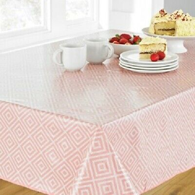 GEO PINK WIPE CLEAN PVC RECTANGLE OBLONG TABLE CLOTH 52x70 INCHES / 132X178CM
