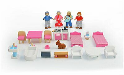 Chad Valley Wooden Dolls House Family Furniture Playset.