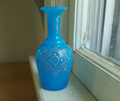 Pretty Blue Glass 1880 Pontiled Cologne Perfume Bottle Hand Painted Designs