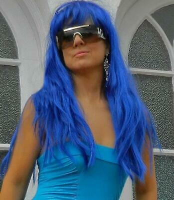 VINTAGE Long Blue Glamour Wig with Bangs