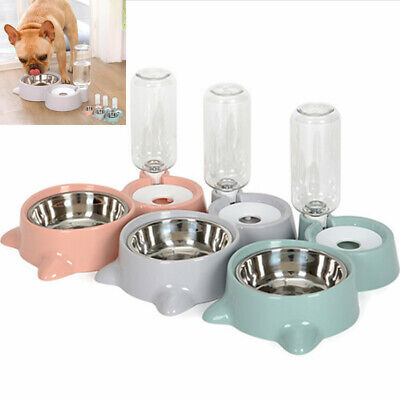 Double Automatic Pet Food Drink Dispenser Dog Cat Feeder Water Bowl Dish For Pet