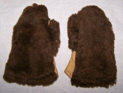 Vintage Toddler Faux Fur And Leather Mittens-Boy-Winter