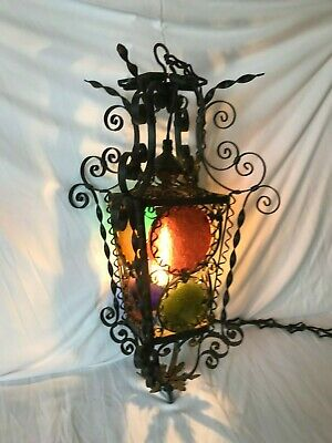 Ornate Wrought Iron Ceiling Light Fixture w/Chain & Clorful Glass Panels