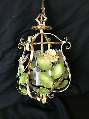 Hanging Floral Metal Tole Painted Light