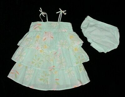 EUC Baby GAP Girls BAHIA Blue & White Floral Tiered Ruffle Dress 12-18 M VHTF