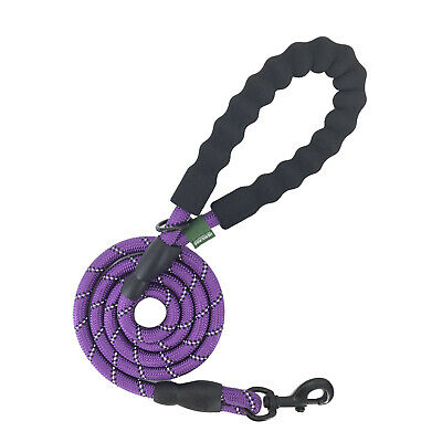 Heritage 5FT Extra Strong Reflective Purple Rope Dog Lead Leash Padded Handle