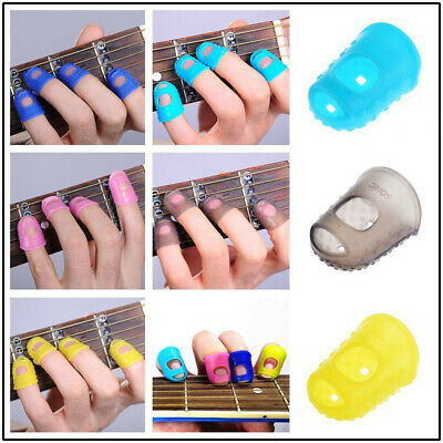 4X Silicone Guitar Fingertip Protectors Finger Guards for Thumb Bass Ukulele UK