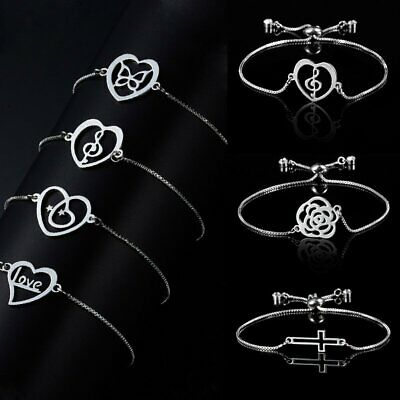 Chic Silver Heart Crystal Women's Bracelets Adjustable Chain Bangle Jewelry Gift