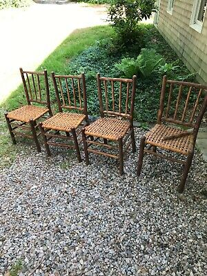 Set 4 Signed Antique Old Hickory Side Chairs, Rustic Cape Cod Barn Find.