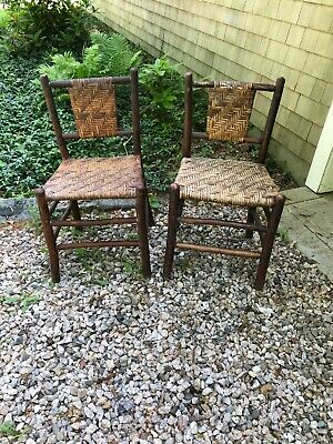2 Antique Old Hickory Side Chairs, Rustic Cape Cod Barn Find.
