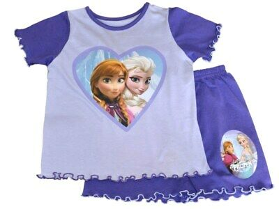 Girls FROZEN Soft Touch Purple SHORT Pyjama Set    18-24 mths  2-3  3-4  4-5 yrs