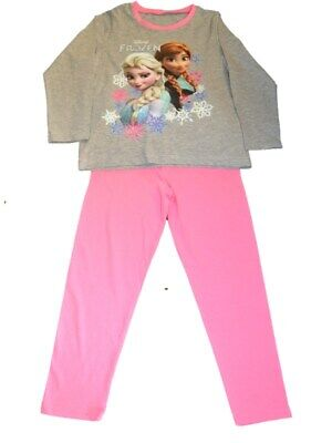 Girls FROZEN  Grey/Pink  Soft Touch LONG LEG Pyjamas Age 5-6  7-8  9-10 years