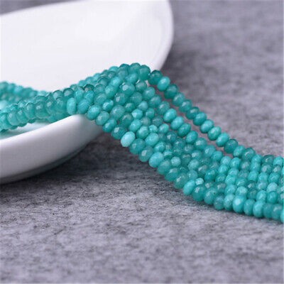 1pcs 2X4MM Amazonite Faceted Gemstone Loose Bead Opaque Spacer Strand Lots