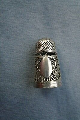 Rare Antique Tall Georgian Unmarked Filigree Silver Thimble - Unmarked Cartouche