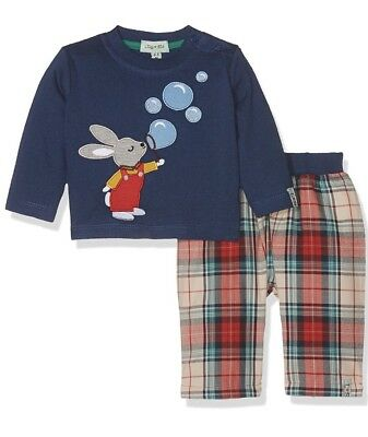 Lilly and Sid Baby Boys Bunny Bubbles Applique Playsuit Romper