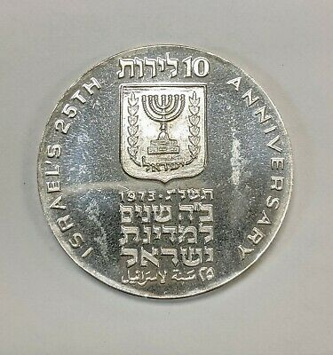 1973 Israel Silver 10 Lirot 25th Anniversary of Independence Proof Bright White