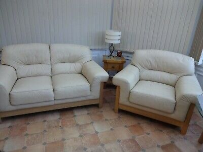 HARVEYS CREAM LEATHER 2 Seater Settee Sofa & 1 Chair ...