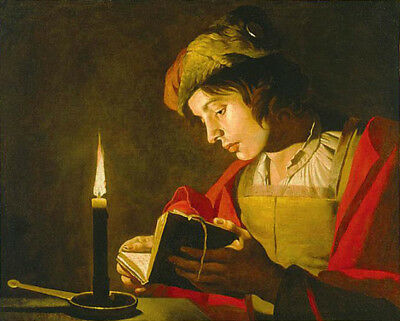 """oil painting handpainted on canvas """"a young man reading by candlelight""""@N13458"""