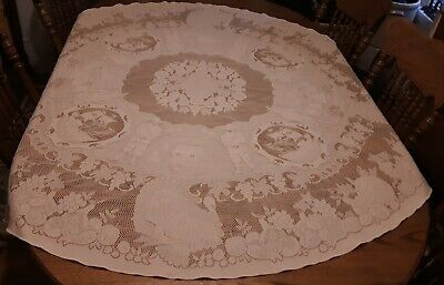 Vintage Tablecloth Figural Lace Frontiersmen Indians Teepees Turkeys  Oval 66X69