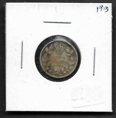 pk44628: Canada Coin - King George V 1913  Silver 10 cent Dime