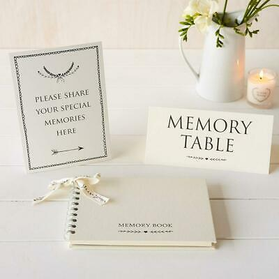 Angel & Dove Luxury A5 Memory Book & 2 Signs Set - 'Please Share Your...