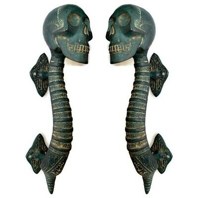 2 Small SKULL handle DOOR PULL aged GREEN patina solid BRASS old style 21cm B