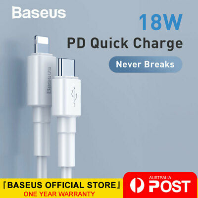 Baseus 18W PD Quick Charge Cable USB Type C to lightning Data Cord for iPhone